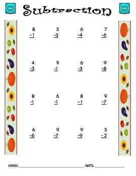 Subtraction Worksheet - 1 x 1 FALL THEME