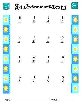 Subtraction Worksheet - 1 x 1 SUMMER THEME