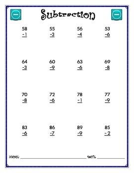 Subtraction Worksheet - 2 x 1