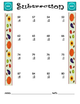 Subtraction Worksheet - 2 x 1 FALL THEME