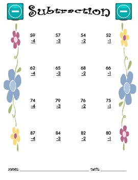 Subtraction Worksheet - 2 x 1 SPRING THEME