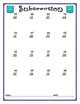 Subtraction Worksheet - 2 x 2