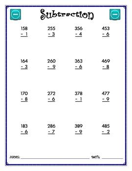 Subtraction Worksheet - 3 x 1