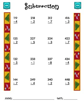 Subtraction Worksheet - 3 x 1 CHRISTMAS THEME