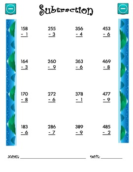 Subtraction Worksheet - 3 x 1 WINTER THEME