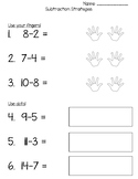 Subtraction Worksheet: Multiple Strategies