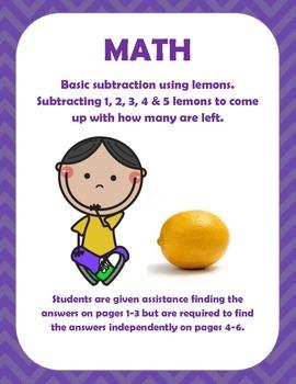 Math: Subtraction Worksheet for Pre-k, K, 1st, & 2nd grade.