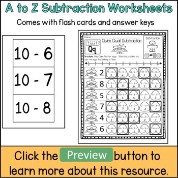 Subtraction Worksheets (1-10)