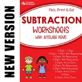 Multi-Digit Subtraction Practice Sheets, Includes Subtracting Across Zeroes