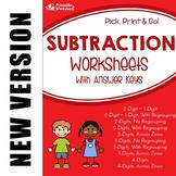Multi-Digit Subtraction Practice Sheet, With Subtracting Across Zeroes Worksheet