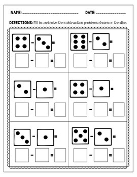 Subtraction Worksheets: Dice Visuals