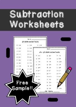 Subtraction Worksheets Free Sample