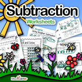 Subtraction Worksheets- Kindergarten (works with distance