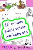 Subtraction Worksheets! Level 2 of 5. Color & Blacklines w