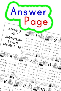 Subtraction Worksheets! Level 3 of 5. Color & Blacklines with Answer Key