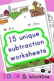 Subtraction Worksheets! Level 3 of 5. Color & Blacklines w