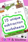 Subtraction Worksheets! Level 4 of 5. Color & Blacklines w