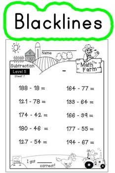 Subtraction Worksheets! Level 5 of 5. Color & Blacklines with Answer Key