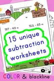 Subtraction Worksheets! Level 5 of 5. Color & Blacklines w