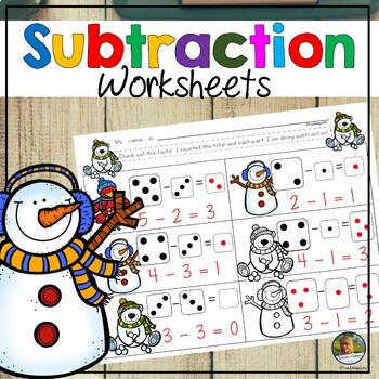 Subtraction Worksheets for Winter Number Sense and Facts Practice to 5 No Prep