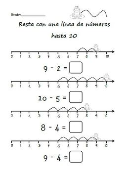 Subtraction Worksheets in Spanish / Hojas de sumar Kinder