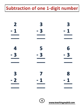 subtraction practice - math for 1st graders - one 1-digit and two 2-digits