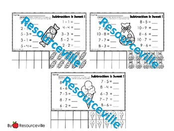 Subtraction Worksheets with Ten Frame and Counters