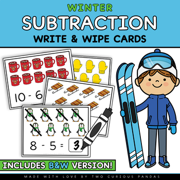 Subtraction Write and Wipe Cards - Winter