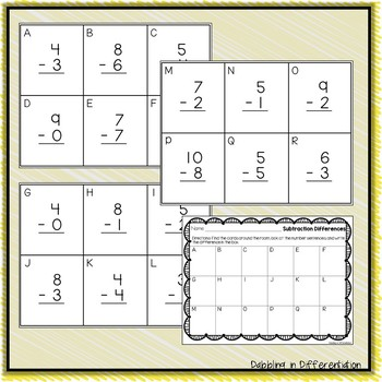 Subtraction Write the Room, Scoot Activity