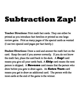 Subtraction Zap Game