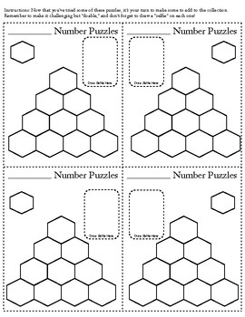 Subtraction and Addition Hexagon Puzzle Cards: 40 different, with DIY