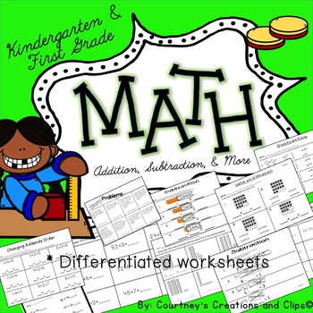 Subtraction and Addition to go with GO MATH Kindergarten 99 Pages!