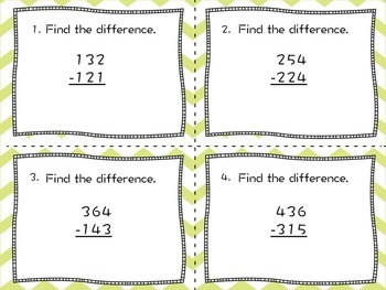 Subtraction and Estimation Task Cards