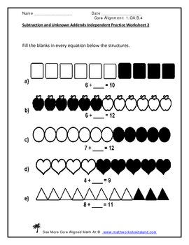 Subtraction and Unknown Addends (to 20) Pack