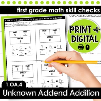 Subtraction as Unknown Addend Addition - First Grade Print and Go