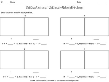 Subtraction as an Unknown-Addend Problem [Part-Part-Whole] (1.OA.B.4)