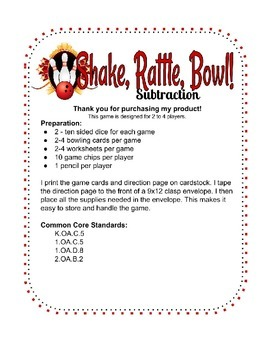 Subtraction bowling common core center activity