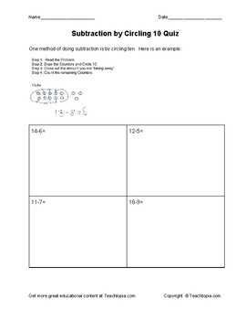 Subtraction by Circling 10 Quiz
