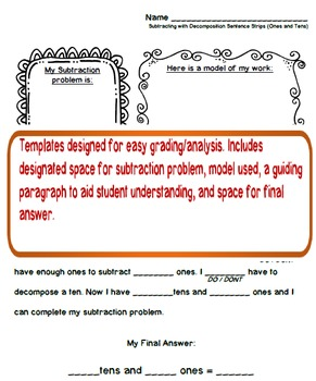 Subtraction by Decomposition Templates (Freebie!)