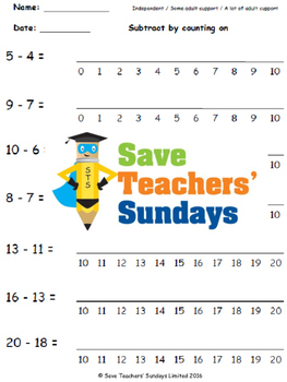 Subtraction by counting lesson plans, worksheets and more