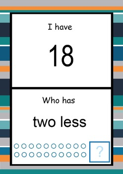 Subtraction cards. I have... Who has...?