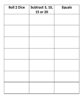 Subtraction chart/game