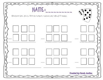Subtraction dice activity