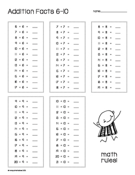 Addition facts 1-10! PRINT AND GO!