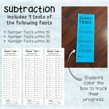 Subtraction facts Speed Test Booklet