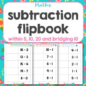 Subtraction flip book 1-10 muddled.