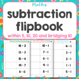 Subtraction flip book mixed questions within 20
