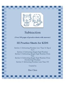 Subtraction for KIDS (HI Practice Sheets for KIDS)