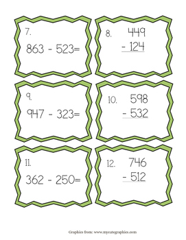 Subtraction from 1,000 task cards