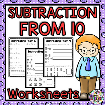 Subtraction from 10 Worksheets